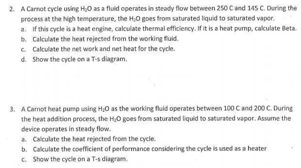 Solved Thermodynamics 1 Carnot Heat Engineheat Pump Pro