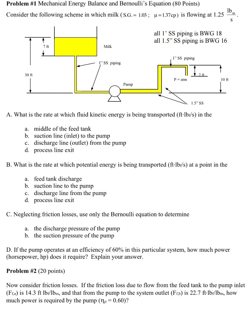 Solved Problem 1 Mechanical Energy Balance And Bernoulli Diagram Bernoullis Equation 80 Points Consider The Following