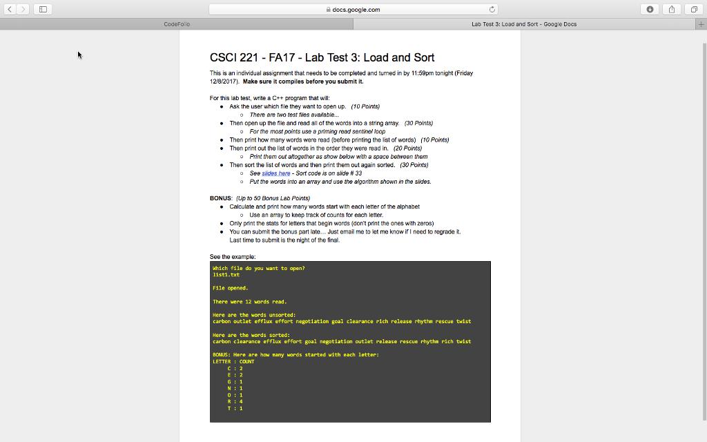 Solved: Docs google com CodeFolo Lab Test 3: Load And Sort