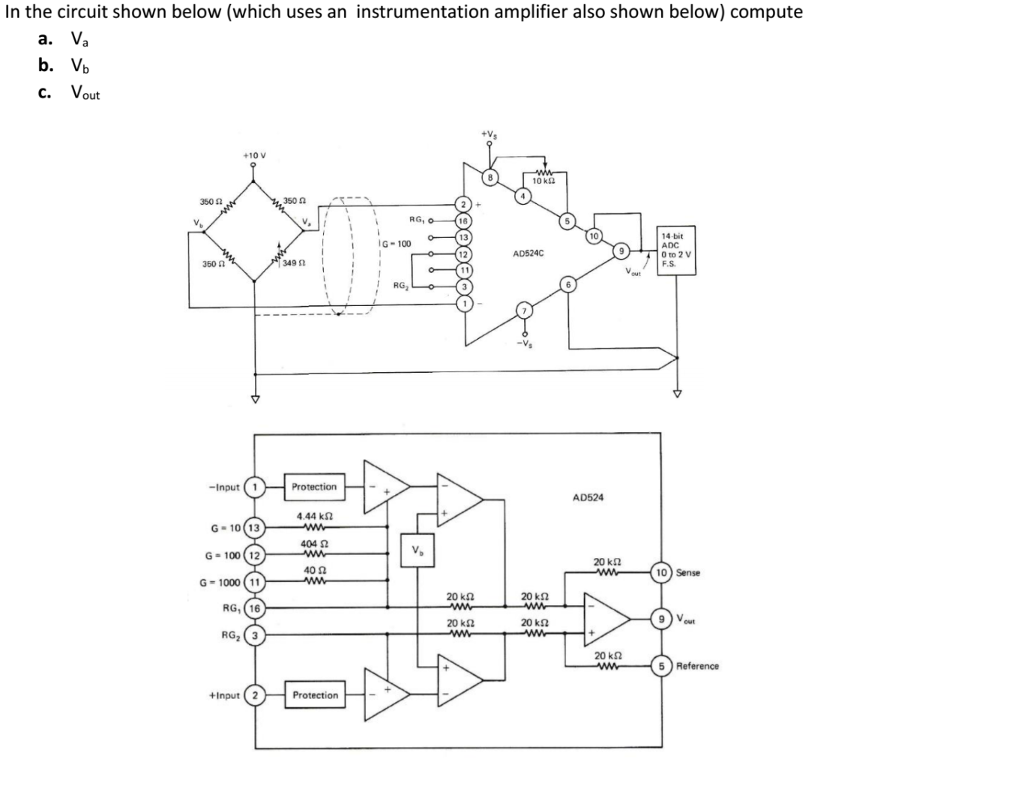 Solved In The Circuit Shown Below Which Uses An Instrume Instrumentation Amplifier Diagram Also Compute