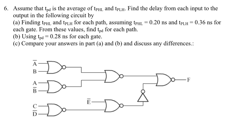 6. Assume that tpd is the average of tHL and tpLH. Find the delay from each input to the output in the following circuit by (a) Finding tPHL and tPLH for each path, assuming tPHL-0.20 ns and tPLH 0.36 ns for each gate. From these values, find tpd for each path (b) Using tpd 0.28 ns for each gate. (c) Compare your answers in part (a) and (b) and discuss any differences.