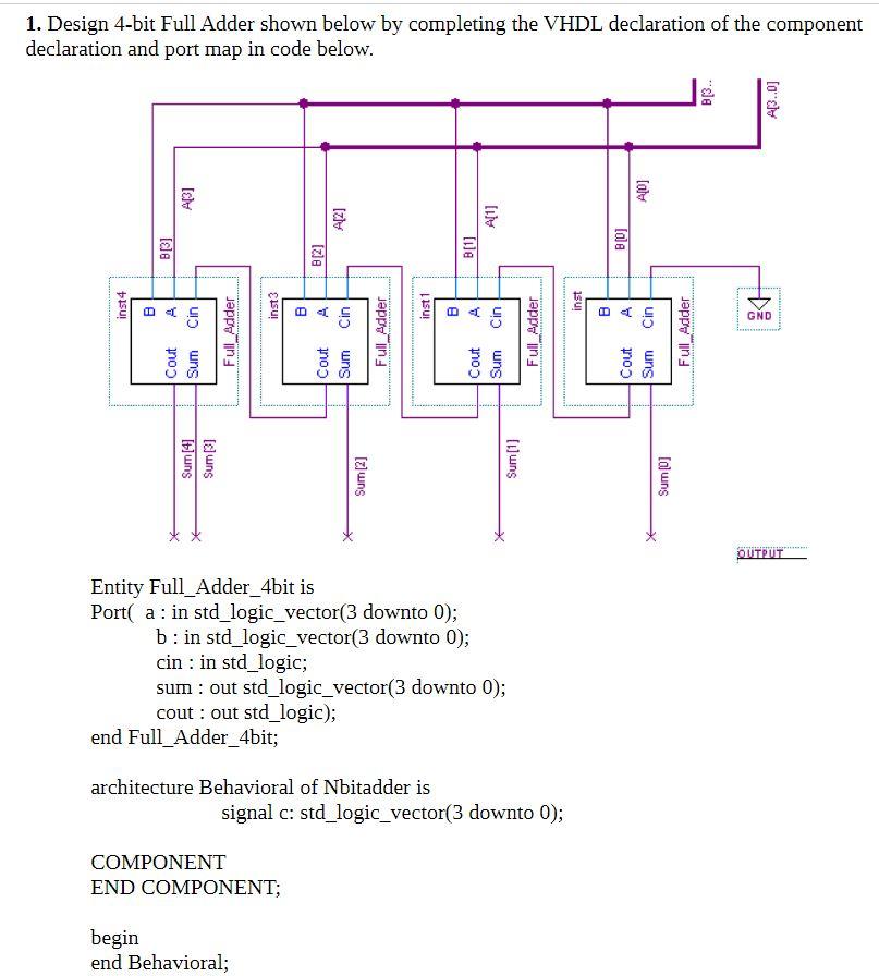 1. Design 4-bit Full Adder Shown Below By Completi... | Chegg.com