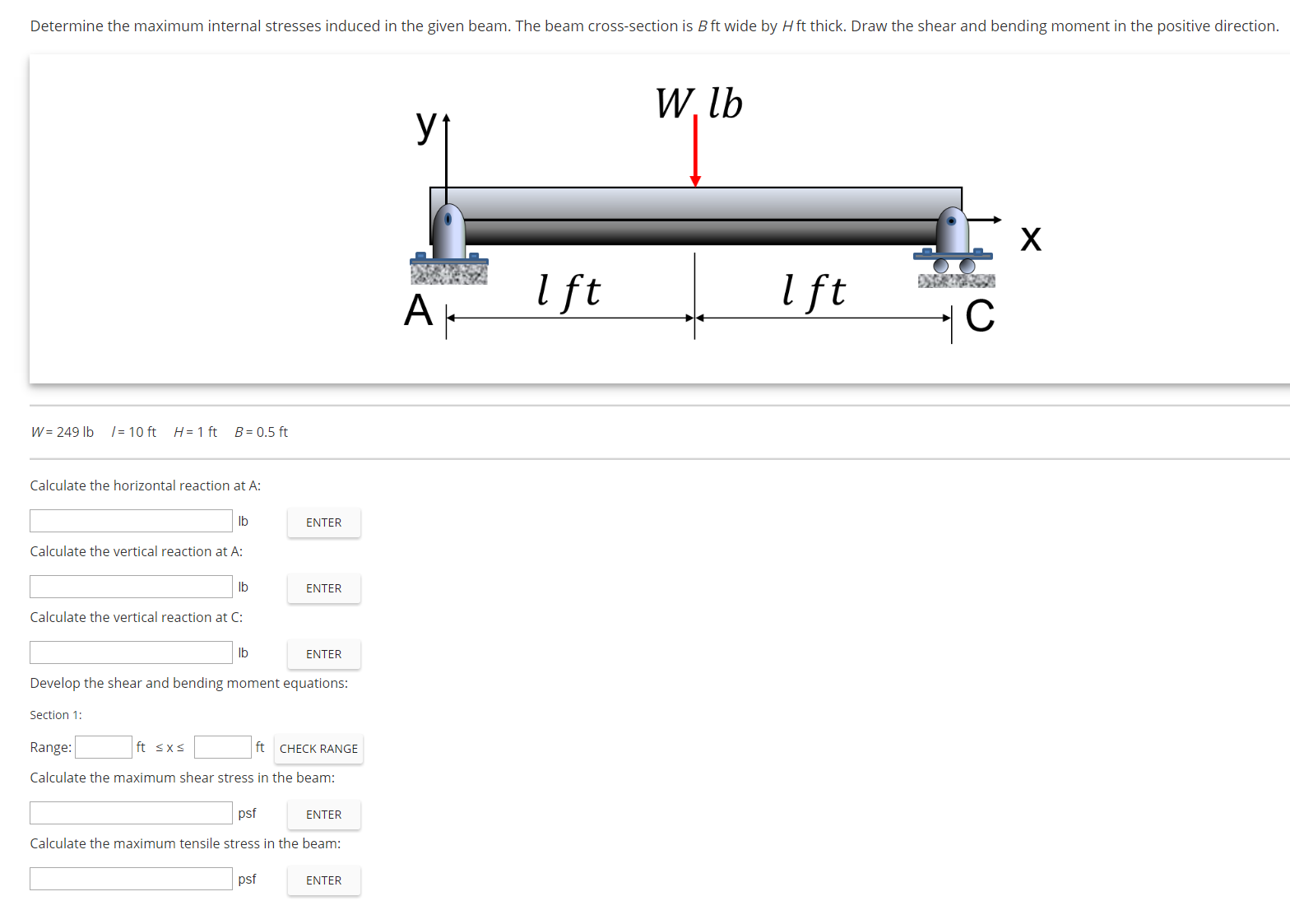Solved Determine The Maximum Internal Stresses Induced In Of Reactant Bending Moment On Diagram