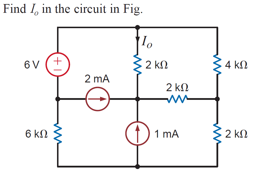 Find I_0 in the circuit in Fig.