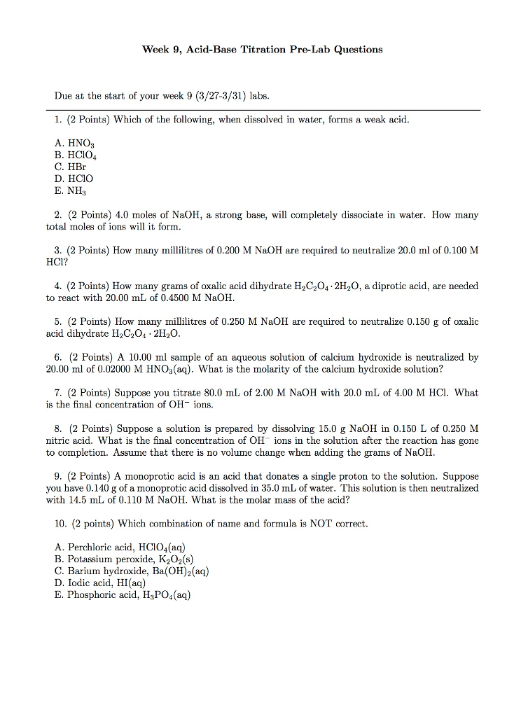 Solved: Week 9, Acid-Base Titration Pre-Lab Questions Due ...