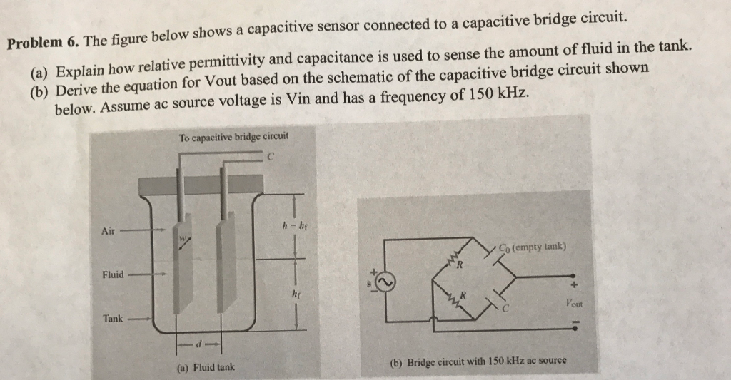 Solved: The Figure Below Shows A Capacitive Sensor Connect ... on