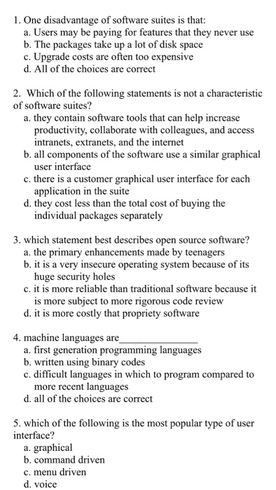 Solved: 1  One Disadvantage Of Software Suites Is That A