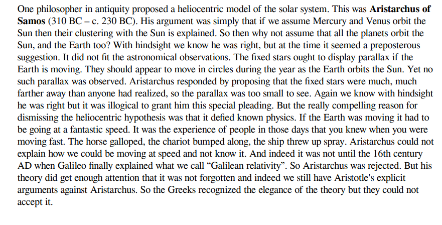Solved One Philosopher In Antiquity Proposed A Heliocentr Chegg Com