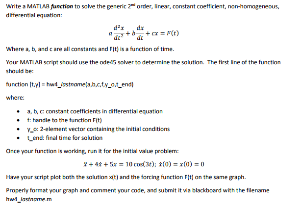 Solved: Write A MATLAB Function To Solve The Generic 2nd O