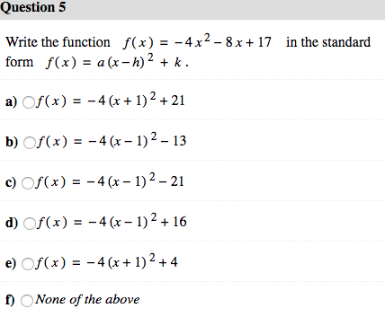 solved write the function f x 4x 2 8x 17 in the s chegg com function f x 4x 2 8x 17