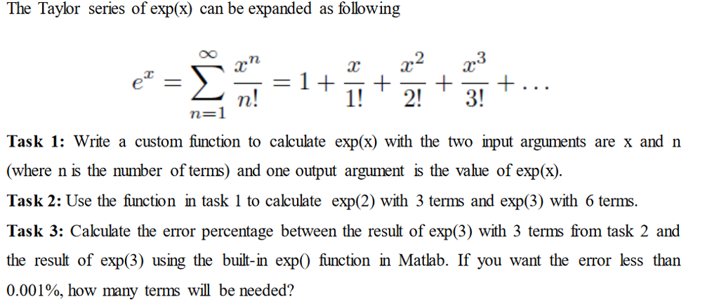 Taylor series of exponential