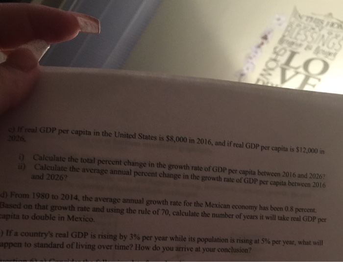 Solved: Question 5) A) The Growth Rate Of Real GDP In The ...