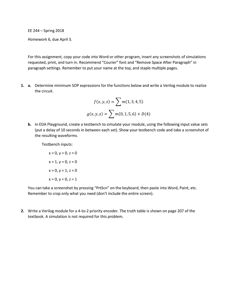 Electrical engineering archive april 02 2018 chegg ee 244 spring 2018 homework 6 due april 3 for this assignment fandeluxe Gallery