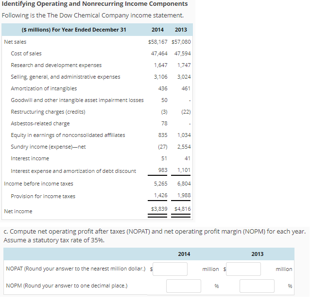 Identifying Operating And Nonrecurring Income Components Following Is The  The Dow Chemical Company Income Statement.  Components Of An Income Statement