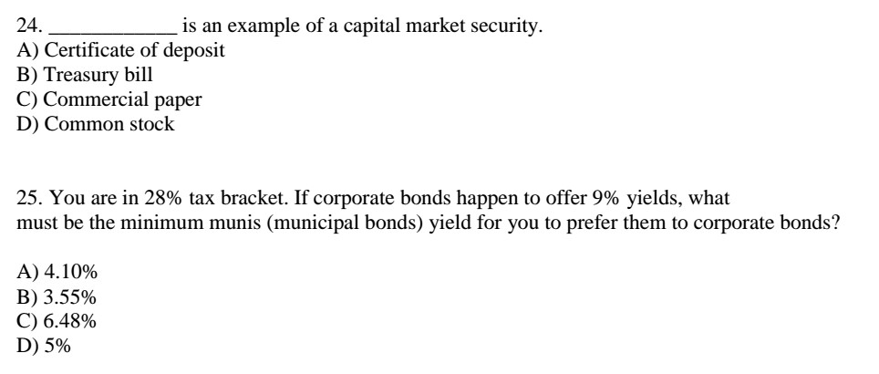 Solved 24i A Certificate Of Deposit B Treasury Bill C