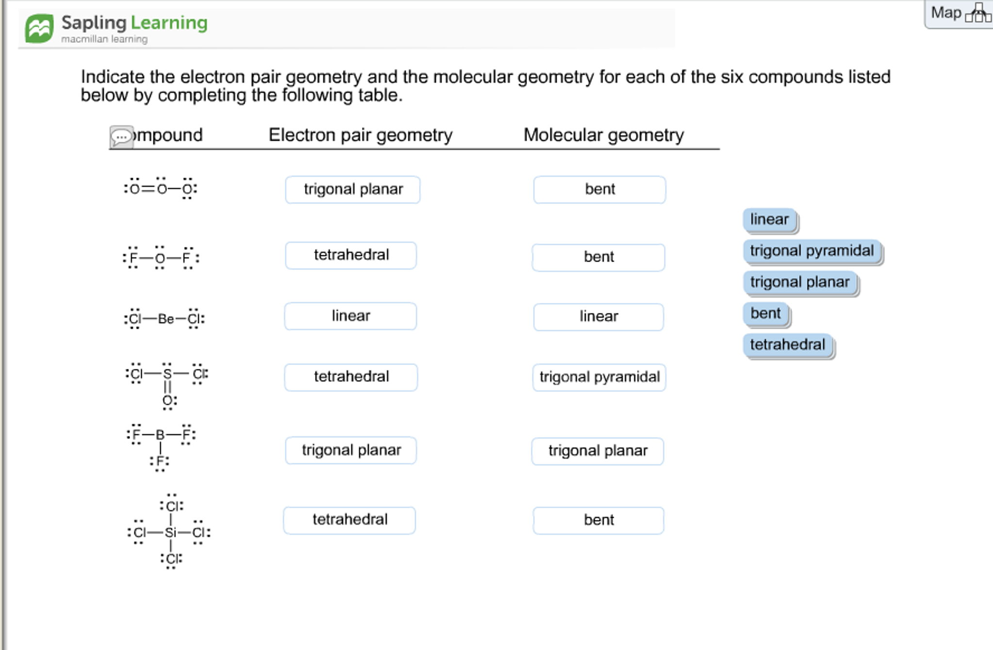 O3 Bond Angle: Solved: Sapling Learning Macmillan Indicate The Electron P