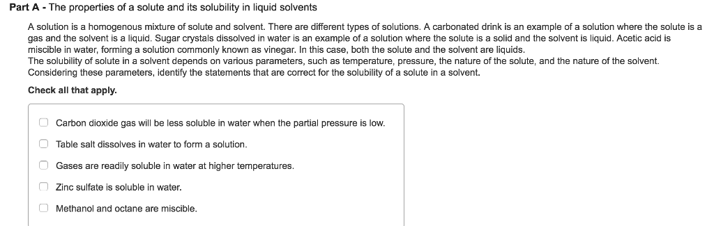 Solved A Solution Is A Homogenous Mixture Of Solute And S