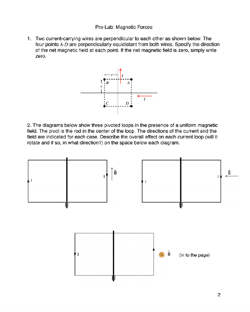 solved pre lab magnetic forces two current carrying wire rh chegg com