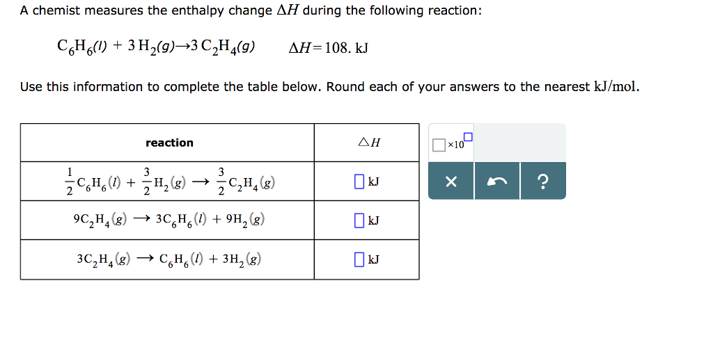 Solved: A Chemist Measures The Enthalpy Change ?H During T ...