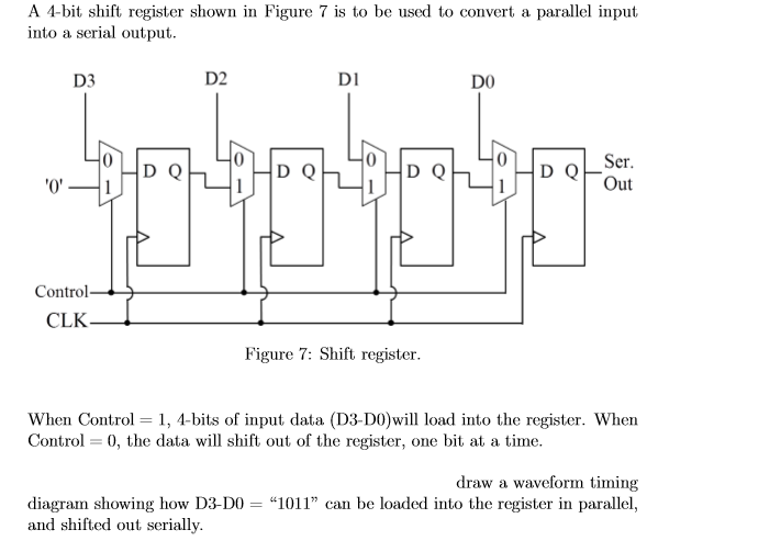 Solved: A 4-bit Shift Register Shown In Figure 7 Is To Be ...