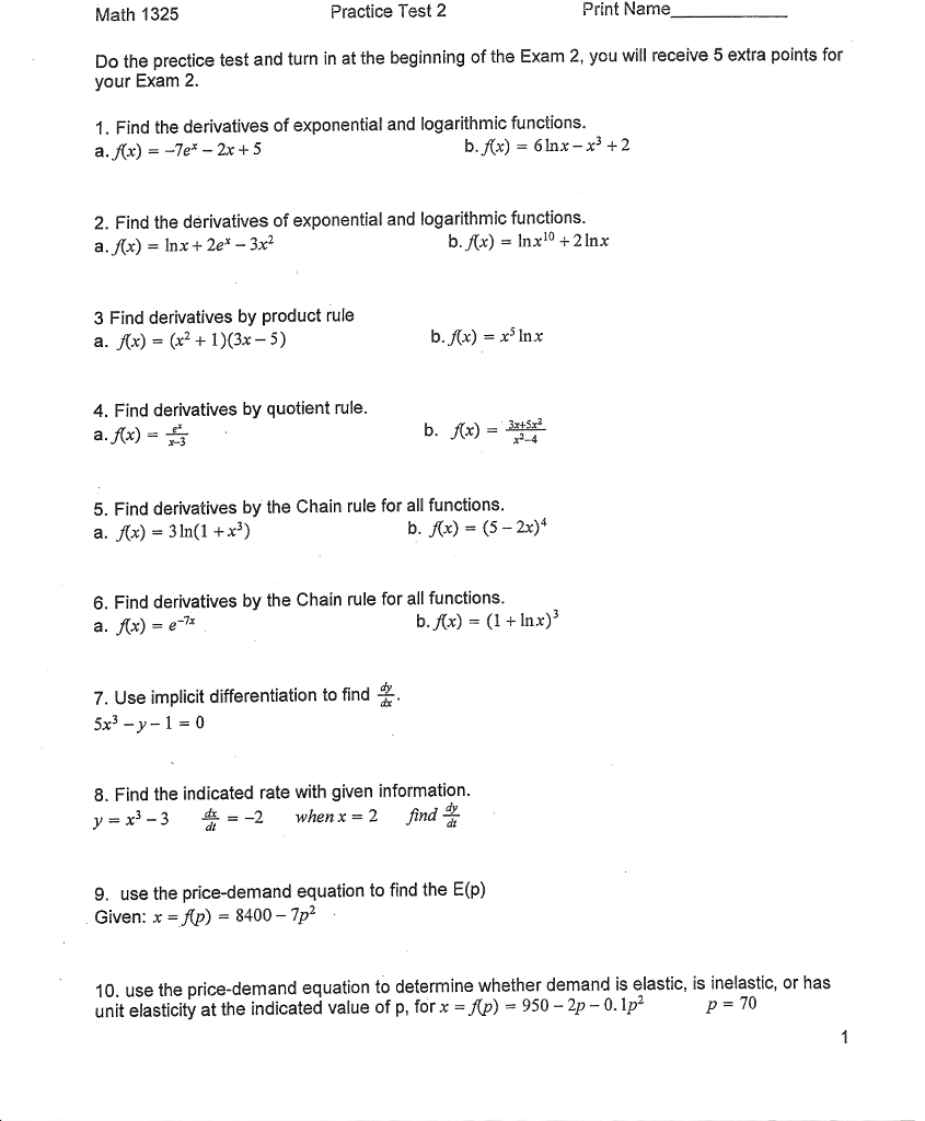 Solved: Math 1325 Practice Test 2 Print Name Do The Precti ...