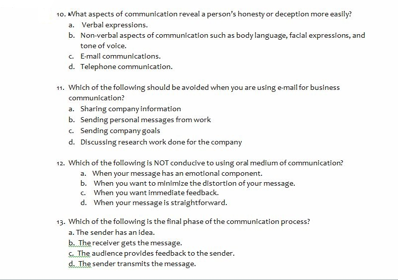 Solved: Business Communication Questions I True Or False