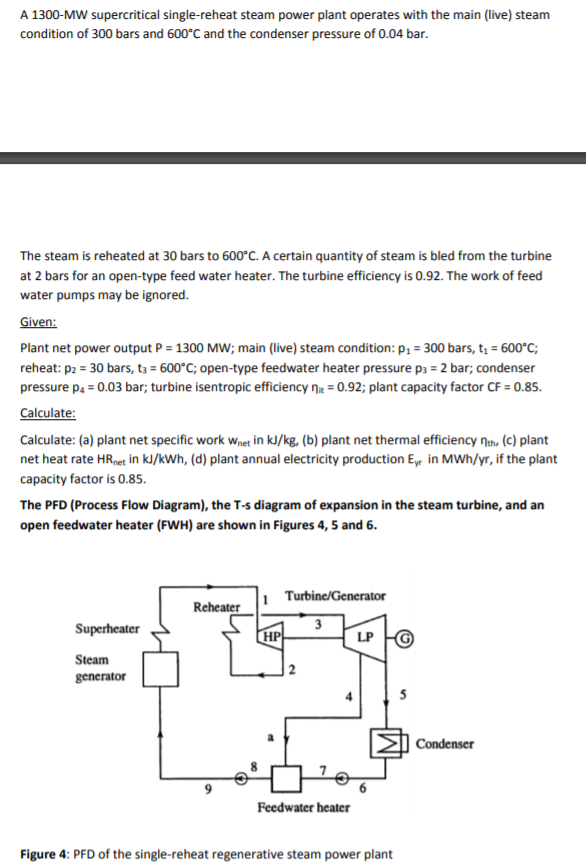 Solved A 1300 Mw Supercritical Single Reheat Steam Power