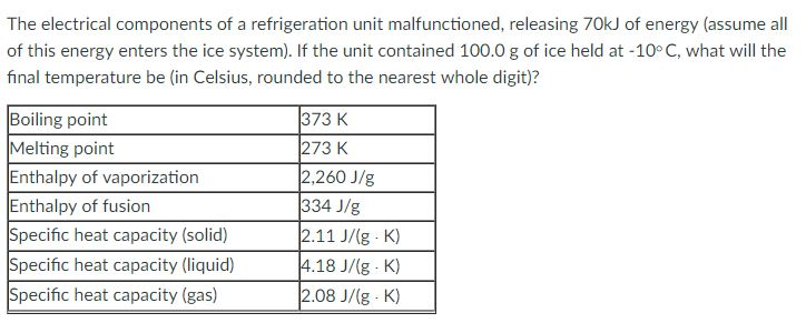 Solved: The Electrical Components Of A Refrigeration Unit ...