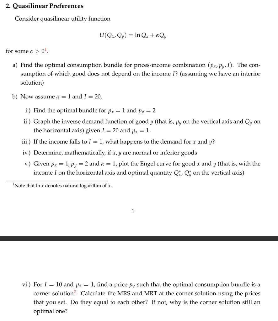 Solved: 2. Quasilinear Preferences Consider Quasilinear Ut