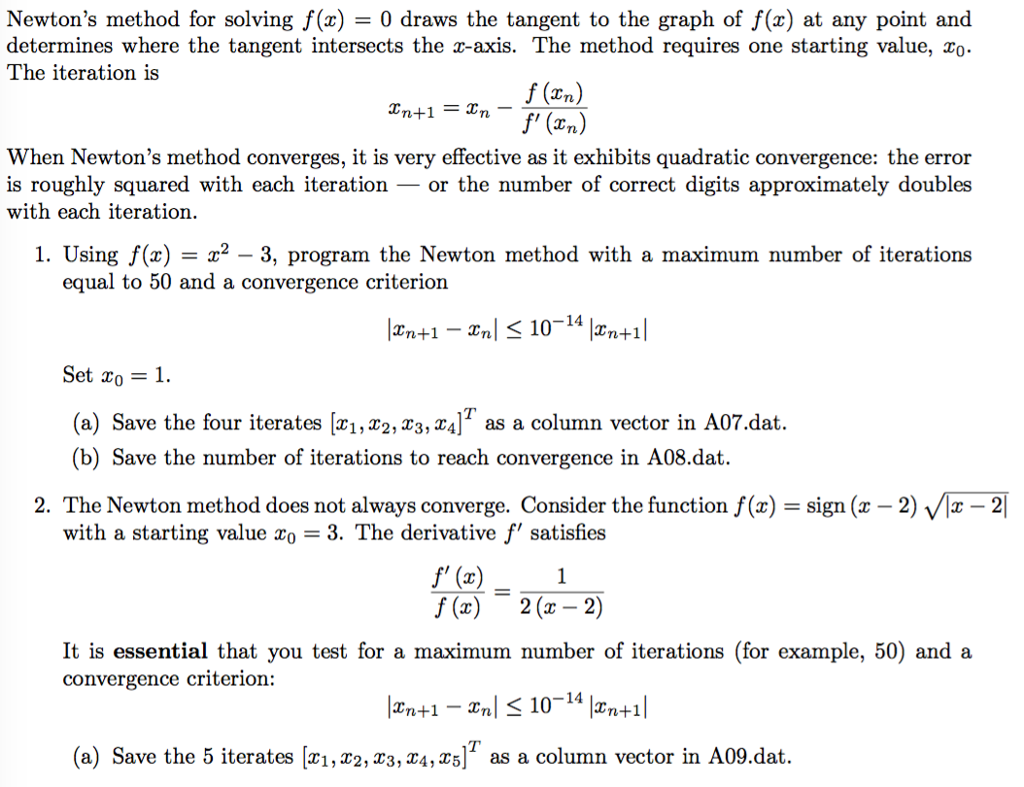 solved newton s method for solving f x 0 draws the tan