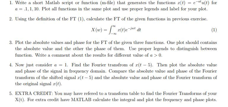 1  Write A Short Matlab Script Or Function (m-file