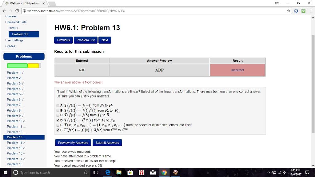 Solved: ← -C   ⓘ Webwork.math.ttu.edu/webwork2/M7dpavlovm2 ...