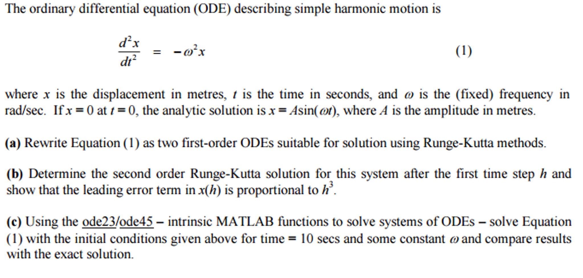 The Ordinary Differential Equation (ODE) Describin      Chegg com