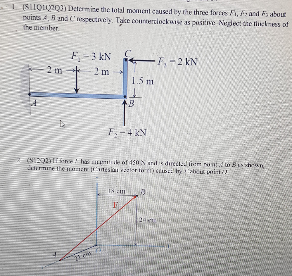 Solved Determine The Total Moment Caused By Three For Free Body Diagram Form A And Solve Please Help Include 1 S11q1q2q3 Forces Fi