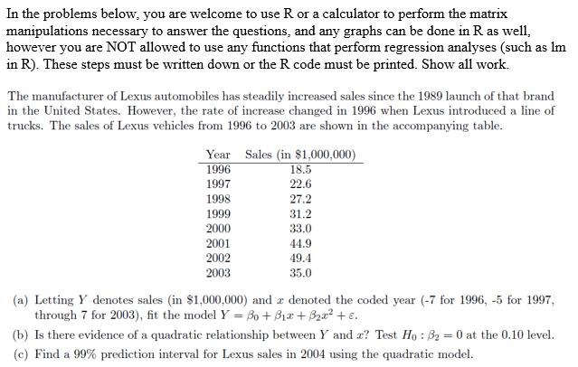2004 matrix problems