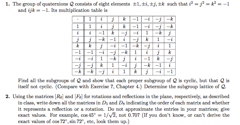 Solved 1 The Group Of Quaternions Q Consists Of Eight El