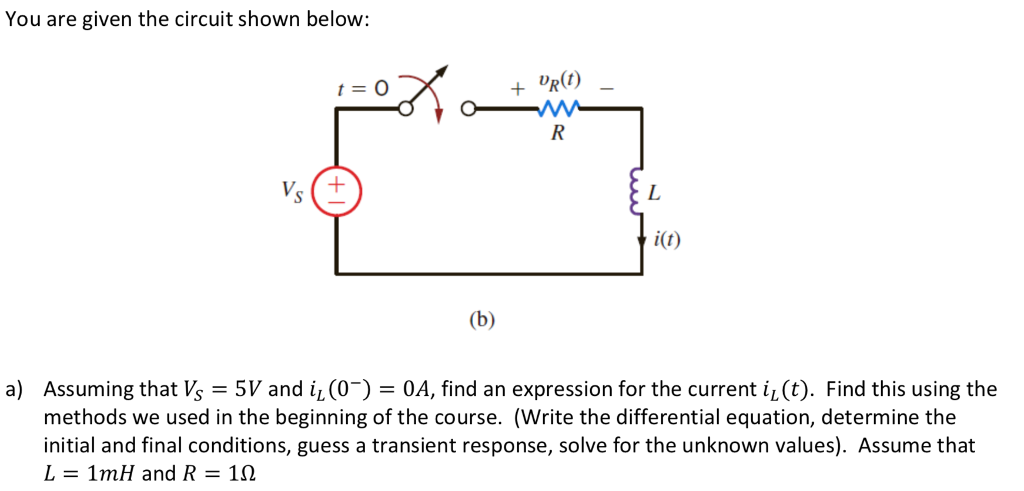 solved you are given the circuit shown below t 0 drit i rh chegg com