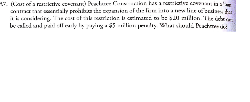 Solved A7 Cost Of A Restrictive Covenant Peachtree Con