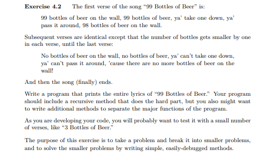 Exercise 42 The First Verse Of Song 99 Bottles Beer Is