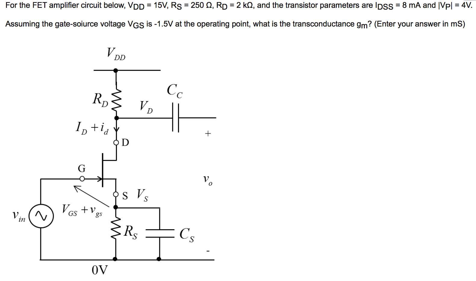 solved for the fet amplifier circuit below v dd 15v r rh chegg com