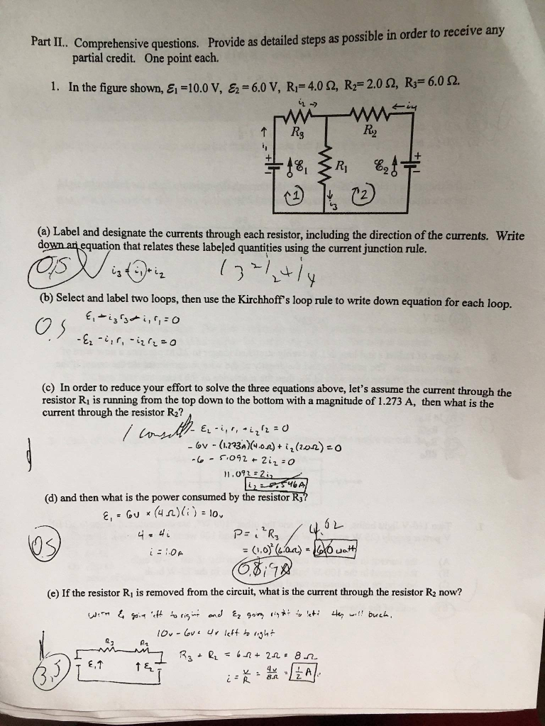 Solved Art Ii Comprehensive Questions Provide As Detail To Calculate The Current Through Resistor R 1 In Two Loop Circuit Detailed Steps Possible Order Receive