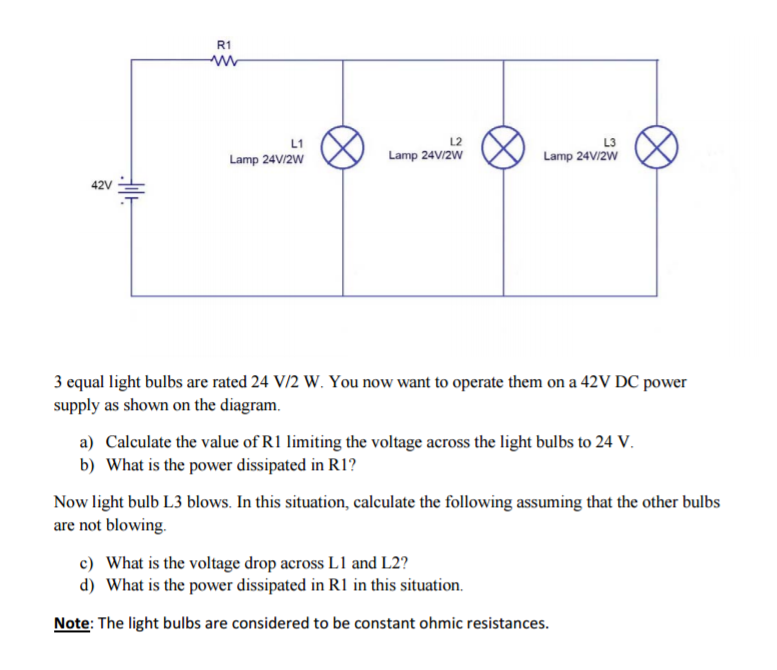 Solved: R1 L1 L2 Lamp 24V/2w Lamp 24VI2W Lamp 24V/2w 3 Equ ...