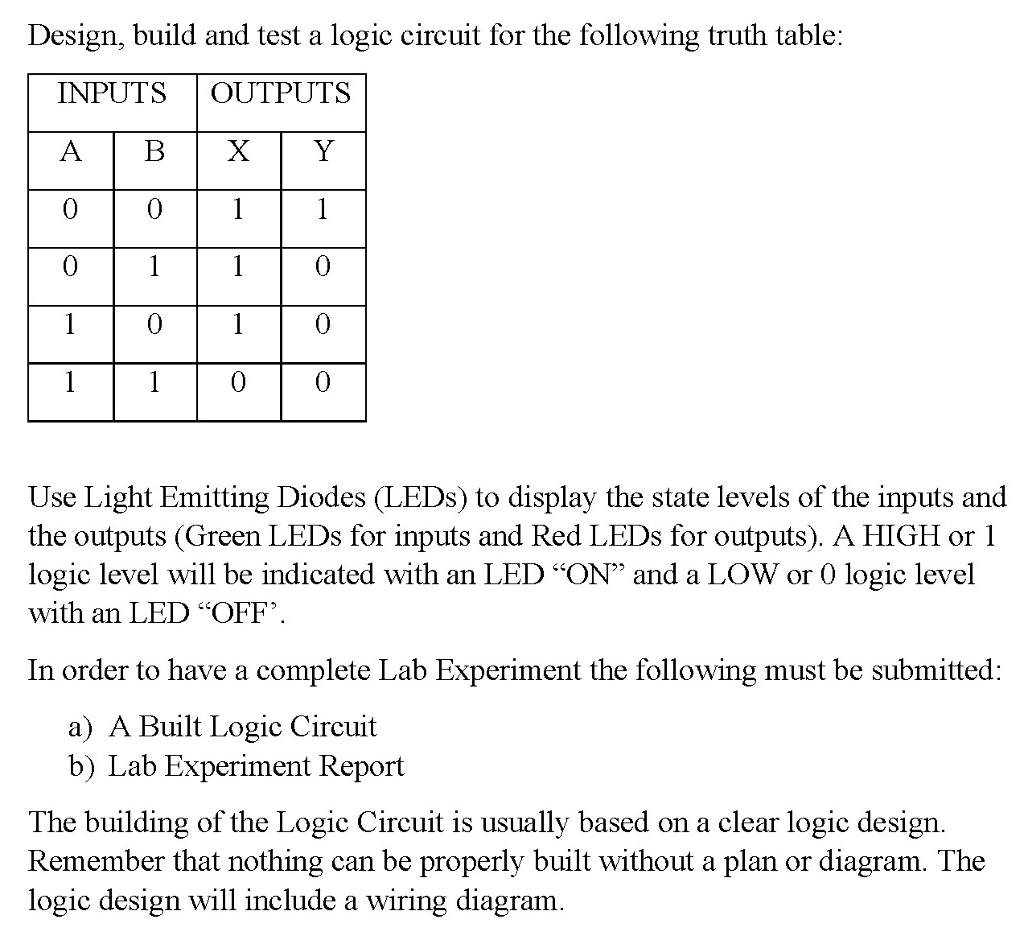 Solved Design Build And Test A Logic Circuit For The Fol Light Emitting Diode Following Truth Table Inputs Outputs