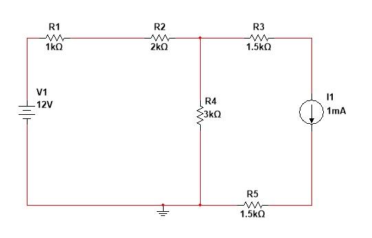 R3 R2 R1 1.5㏀ V1 12V R4 1mA R5 1.5㏀