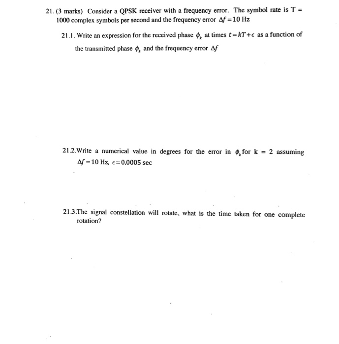 Solved 21 3 Marks Consider A Qpsk Receiver With A Freq