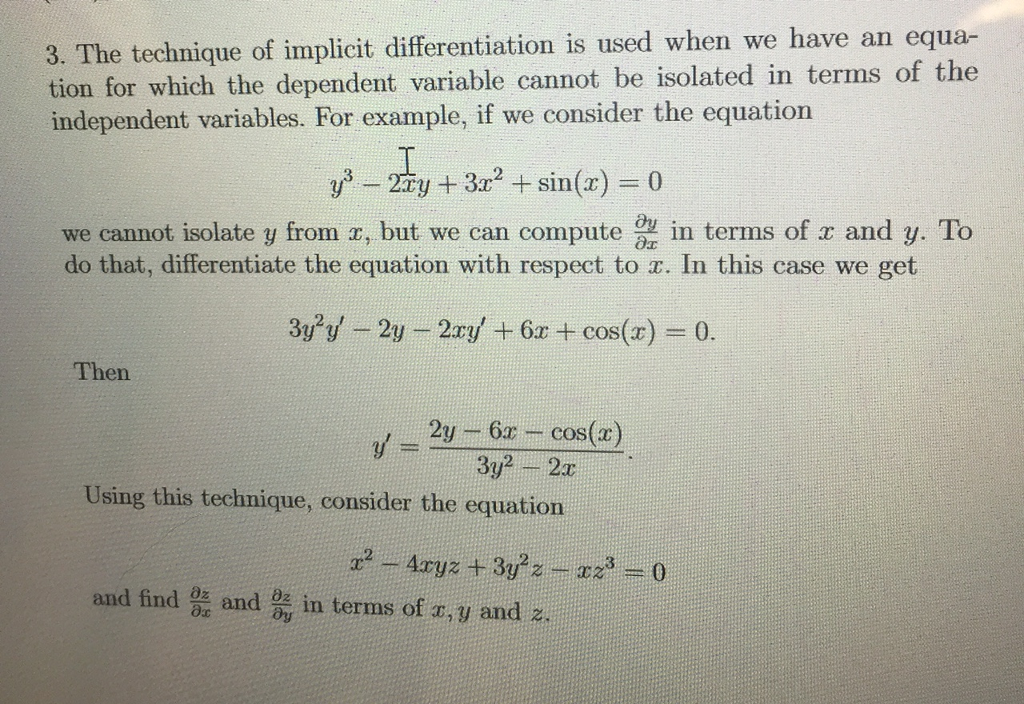 Solved 3 The Technique Of Implicit Differentiation Is Us