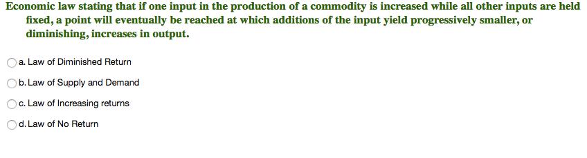 law of return in economics
