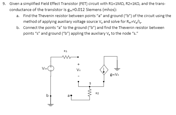 Solved Given A Simplified Field Effect Transistor Fet C