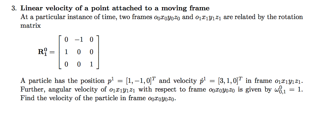 Linear Velocity Of A Point Attached To A Moving Fr...   Chegg.com