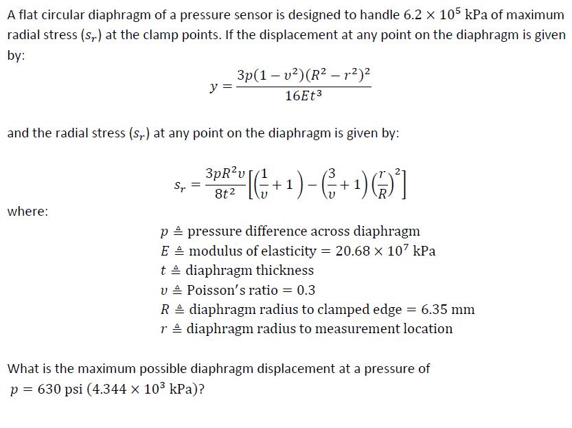 Solved: A Flat Circular Diaphragm Of A Pressure Sensor Is ...
